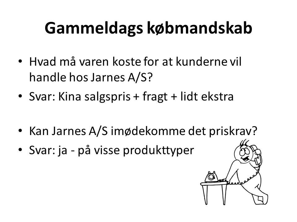Gammeldags købmandskab • Hvad må varen koste for at kunderne vil handle hos Jarnes A/S.