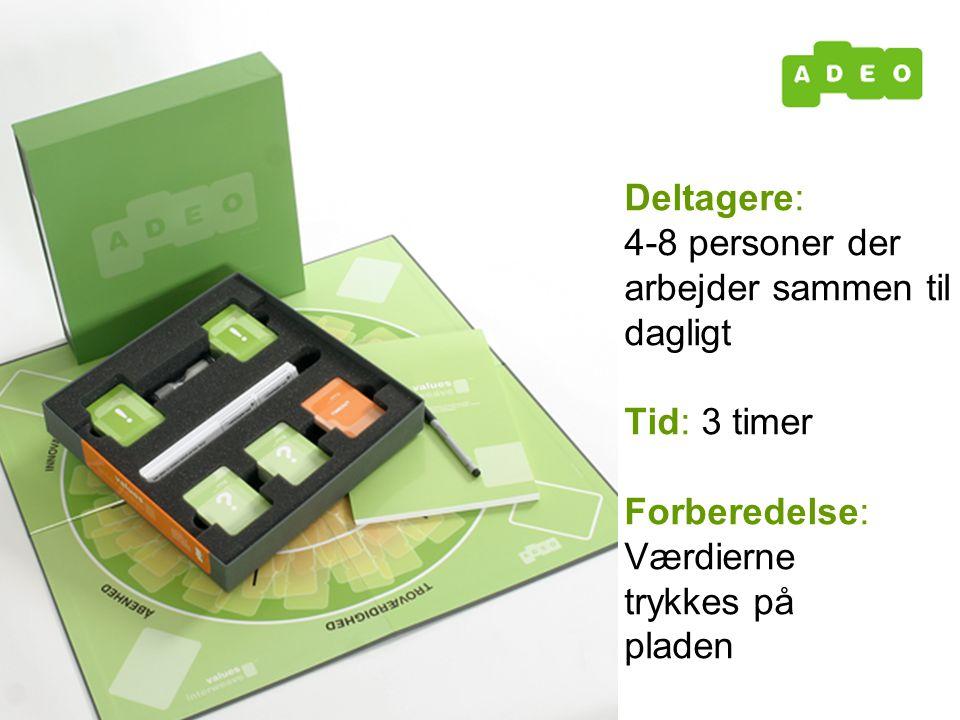 Deltagere: 4-8 personer der arbejder sammen til dagligt Tid: 3 timer Forberedelse: Værdierne trykkes på pladen