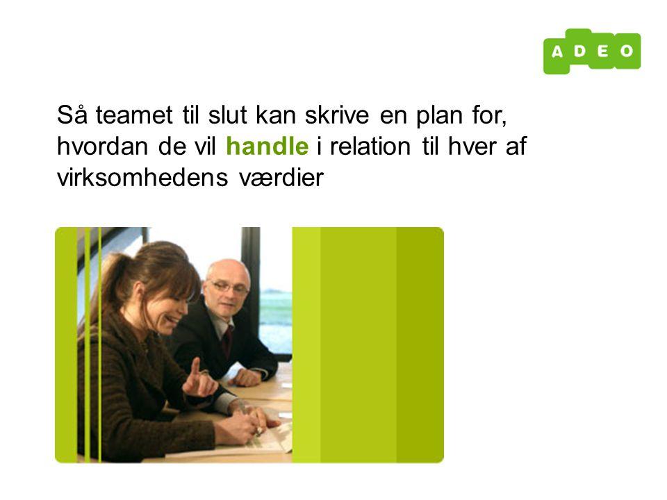 Så teamet til slut kan skrive en plan for, hvordan de vil handle i relation til hver af virksomhedens værdier