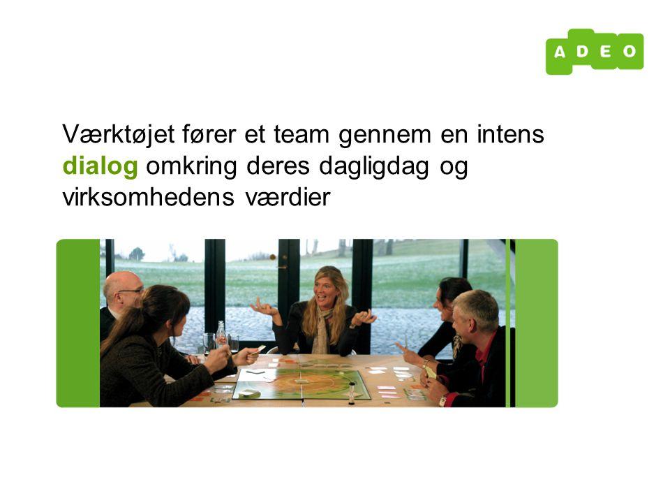 Værktøjet fører et team gennem en intens dialog omkring deres dagligdag og virksomhedens værdier