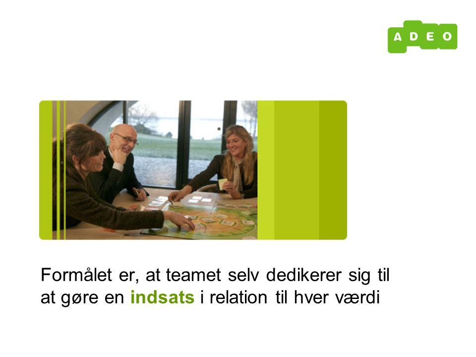 Formålet er, at teamet selv dedikerer sig til at gøre en indsats i relation til hver værdi