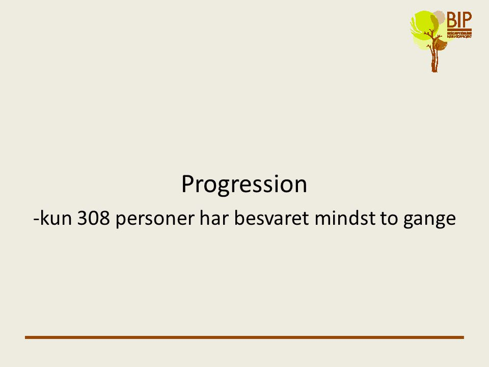 Progression -kun 308 personer har besvaret mindst to gange