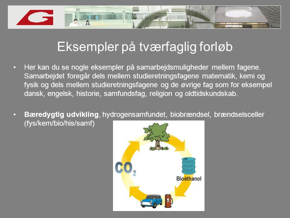 Eksempler på tværfaglig forløb •Her kan du se nogle eksempler på samarbejdsmuligheder mellem fagene.