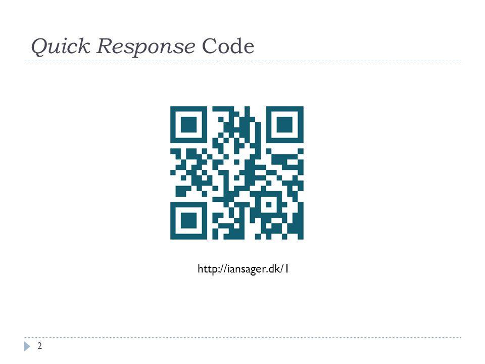 Quick Response Code http://iansager.dk/1 2