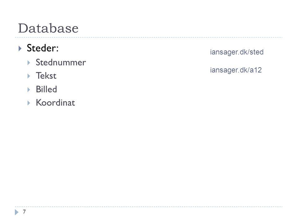Database  Steder:  Stednummer  Tekst  Billed  Koordinat 7 iansager.dk/sted iansager.dk/a12