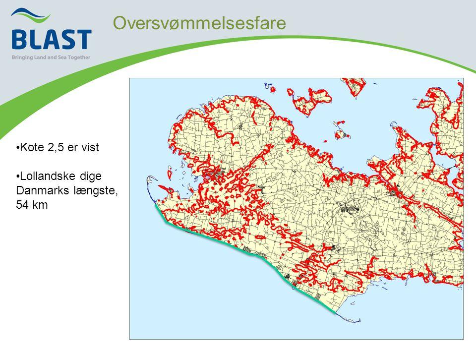 Oversvømmelsesfare •Kote 2,5 er vist •Lollandske dige Danmarks længste, 54 km