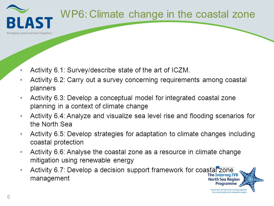 WP6: Climate change in the coastal zone •Activity 6.1: Survey/describe state of the art of ICZM.