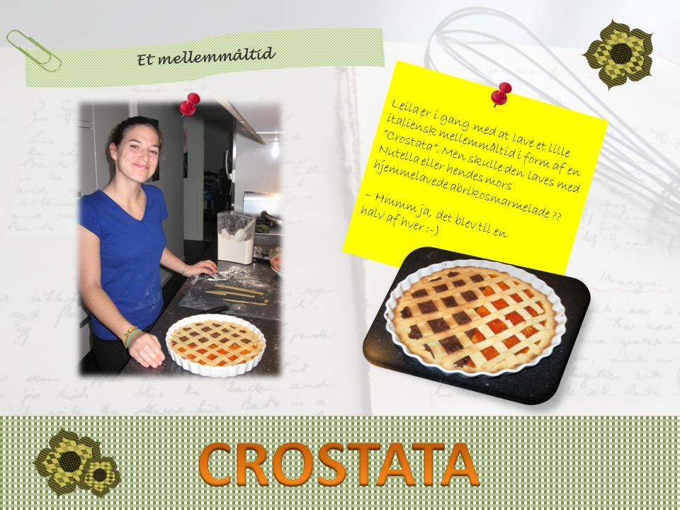 Leila er i gang med at lave et lille italiensk mellemmåltid i form af en Crostata .