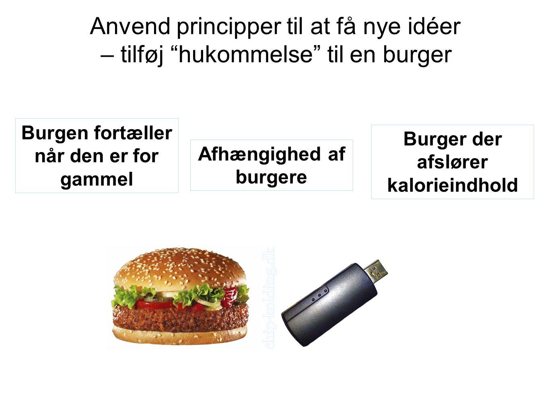 Anvend principper til at få nye idéer – tilføj hukommelse til en burger Afhængighed af burgere Burger der afslører kalorieindhold Burgen fortæller når den er for gammel