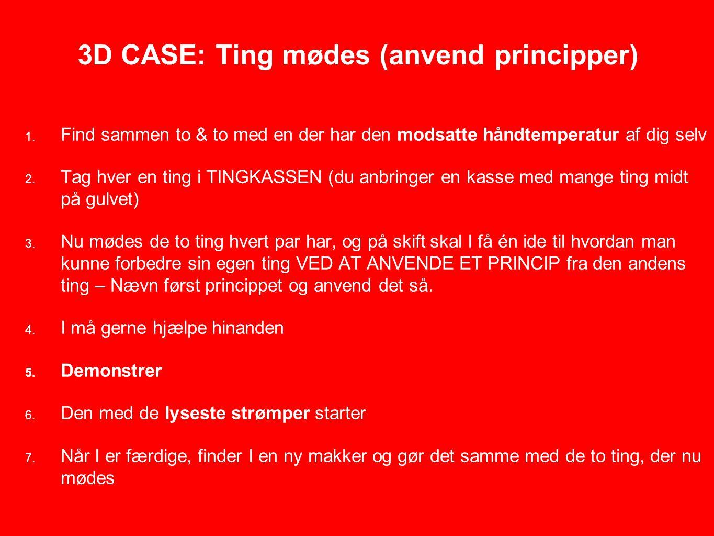 3D CASE: Ting mødes (anvend principper) 1.