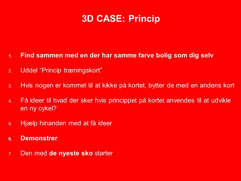 3D CASE: Princip 1. Find sammen med en der har samme farve bolig som dig selv 2.