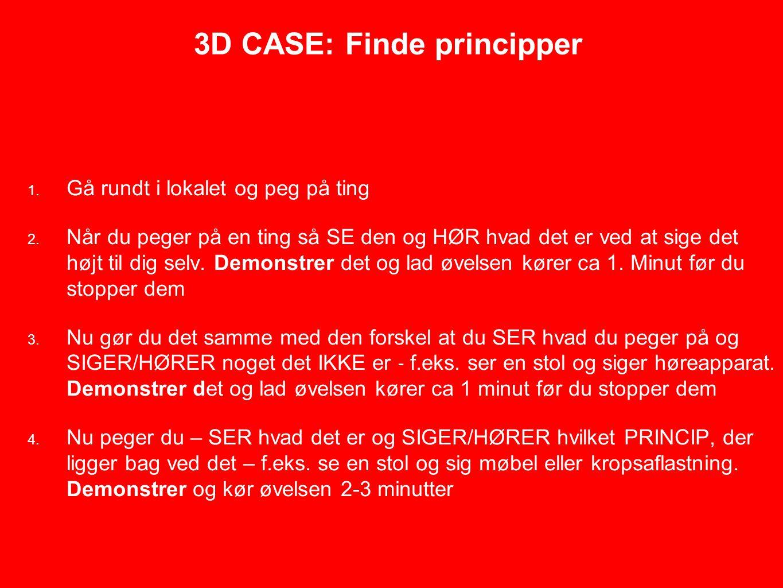 3D CASE: Finde principper 1. Gå rundt i lokalet og peg på ting 2.