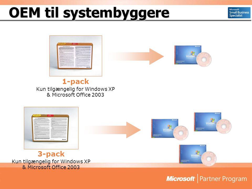 OEM til systembyggere 1-pack Kun tilgængelig for Windows XP & Microsoft Office 2003 3-pack Kun tilgængelig for Windows XP & Microsoft Office 2003