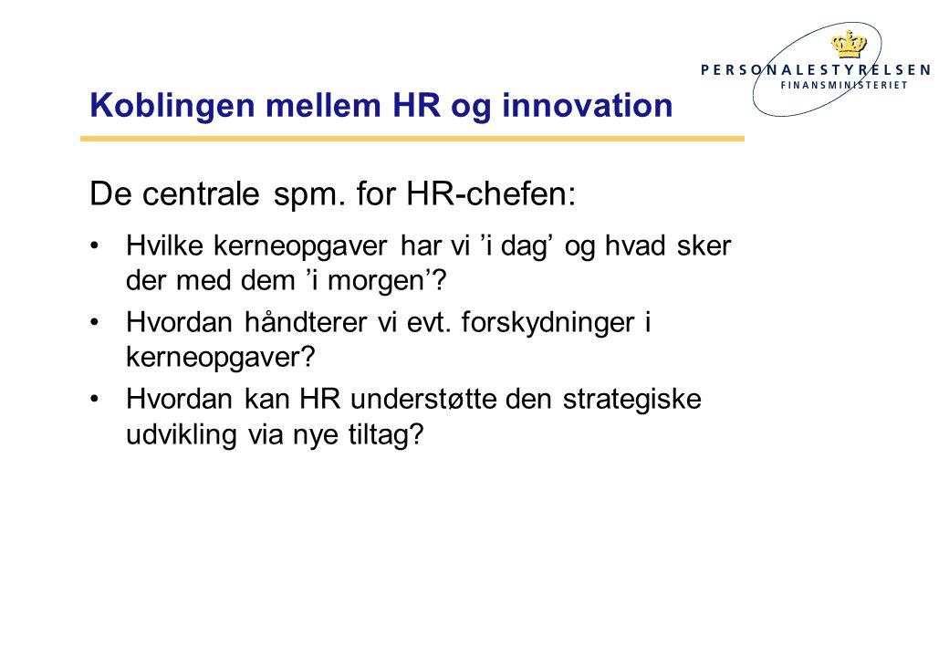 Koblingen mellem HR og innovation De centrale spm.