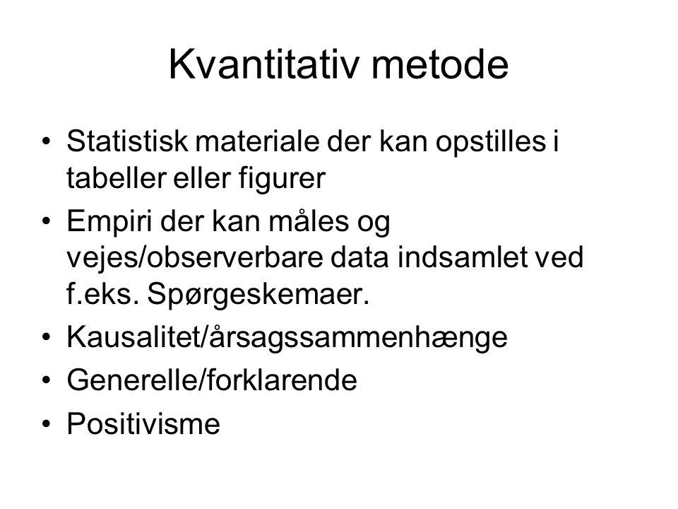 Kvantitativ metode •Statistisk materiale der kan opstilles i tabeller eller figurer •Empiri der kan måles og vejes/observerbare data indsamlet ved f.e