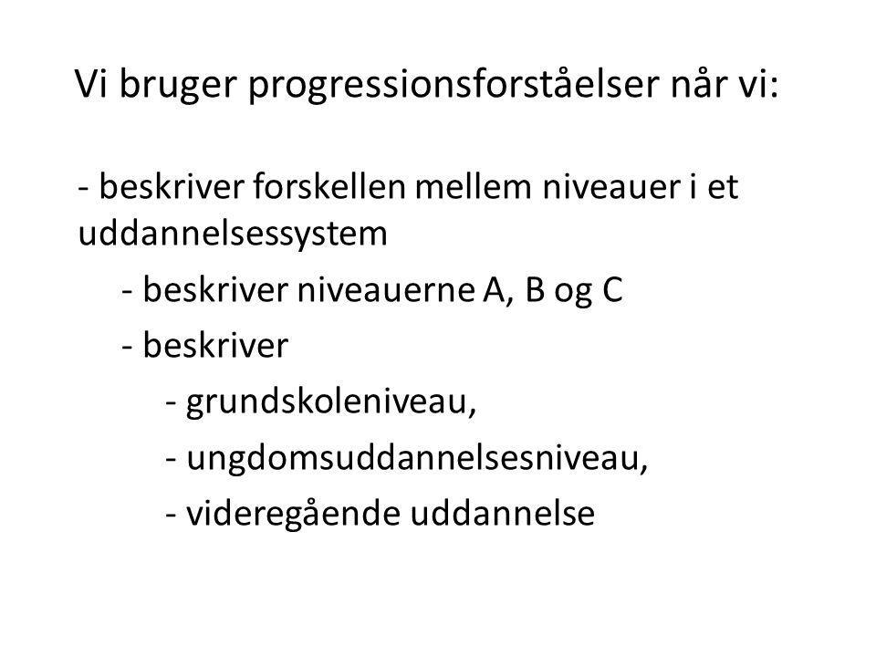 Vi bruger progressionsforståelser når vi: - beskriver forskellen mellem niveauer i et uddannelsessystem - beskriver niveauerne A, B og C - beskriver -