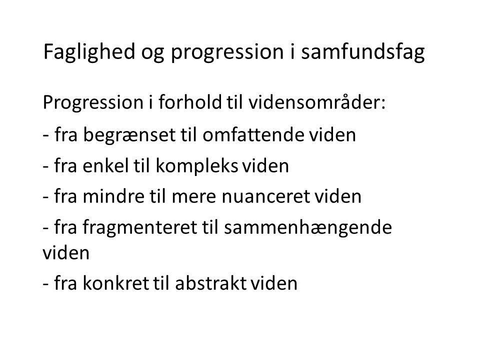 Faglighed og progression i samfundsfag Progression i forhold til vidensområder: - fra begrænset til omfattende viden - fra enkel til kompleks viden -