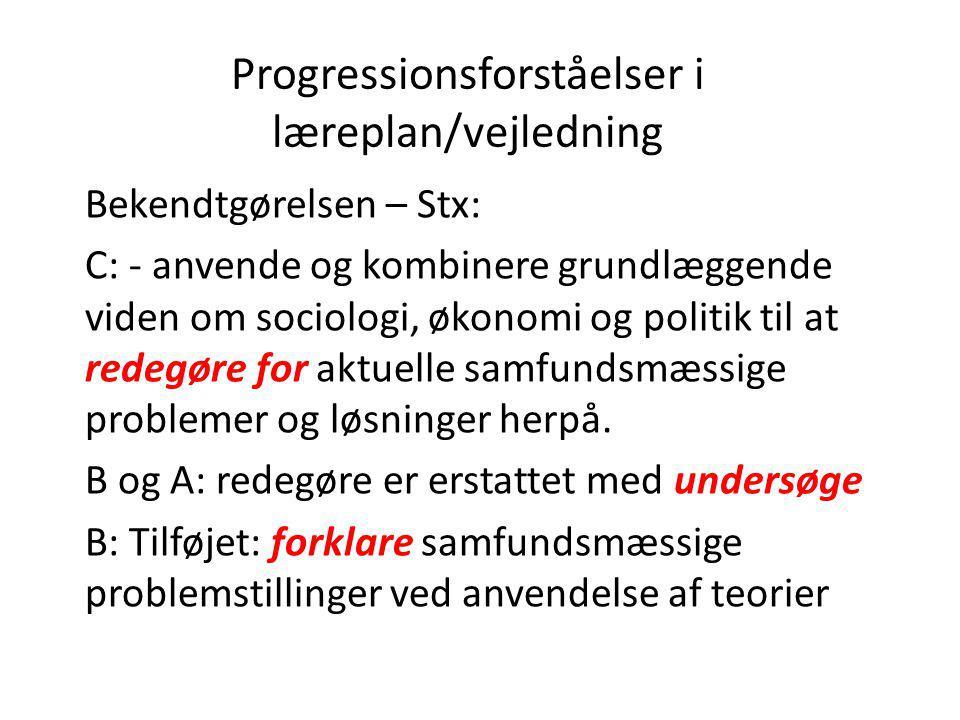 Progressionsforståelser i læreplan/vejledning Bekendtgørelsen – Stx: C: - anvende og kombinere grundlæggende viden om sociologi, økonomi og politik ti