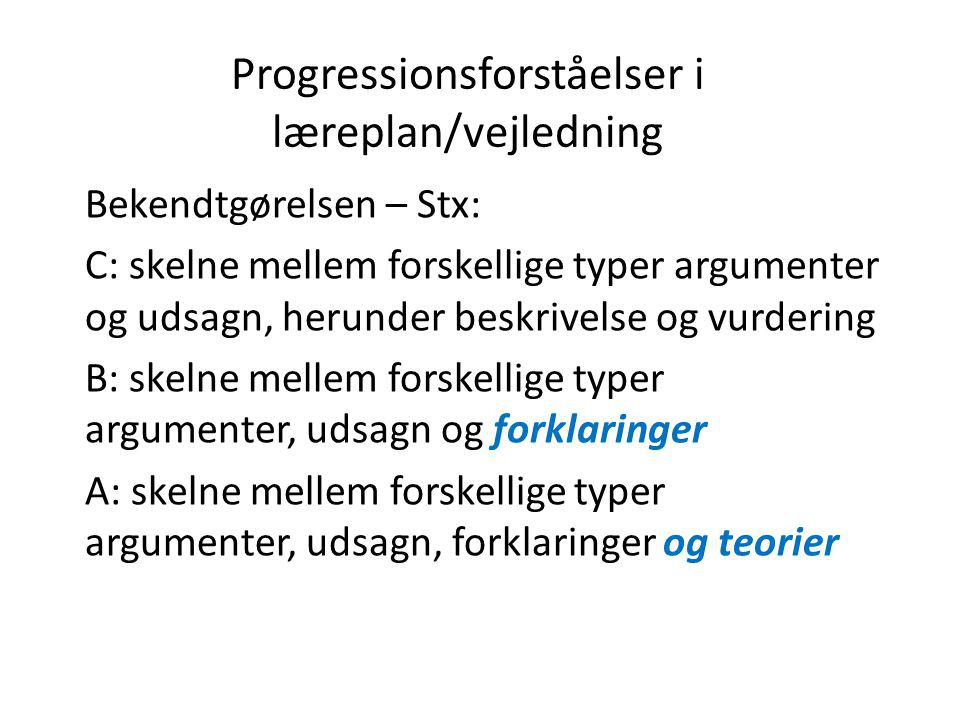 Progressionsforståelser i læreplan/vejledning Bekendtgørelsen – Stx: C: skelne mellem forskellige typer argumenter og udsagn, herunder beskrivelse og