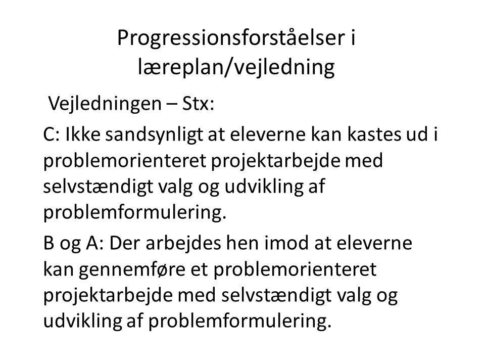 Progressionsforståelser i læreplan/vejledning Vejledningen – Stx: C: Ikke sandsynligt at eleverne kan kastes ud i problemorienteret projektarbejde med