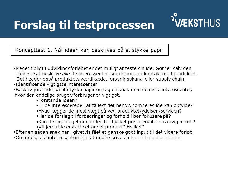 Forslag til testprocessen Koncepttest 1.