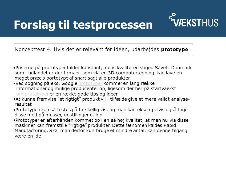 Forslag til testprocessen Koncepttest 4.