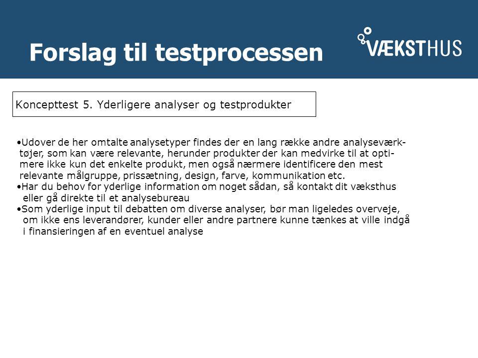 Forslag til testprocessen Koncepttest 5.