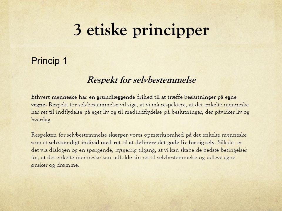 Princip 2 Hensyn til fysisk og psykisk integritet Integritet betyder ikke-røre.