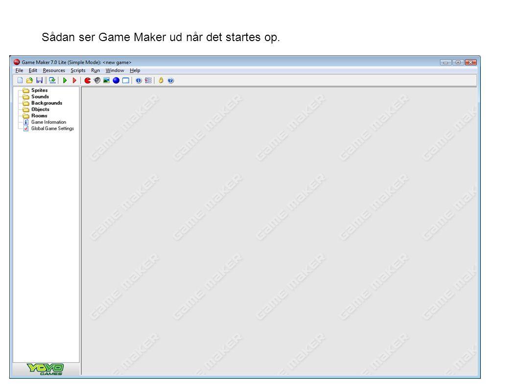 Sådan ser Game Maker ud når det startes op.