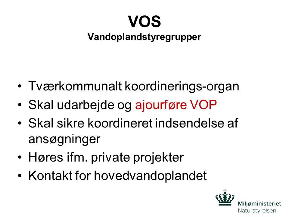 VOS Vandoplandstyregrupper •Tværkommunalt koordinerings-organ •Skal udarbejde og ajourføre VOP •Skal sikre koordineret indsendelse af ansøgninger •Høres ifm.