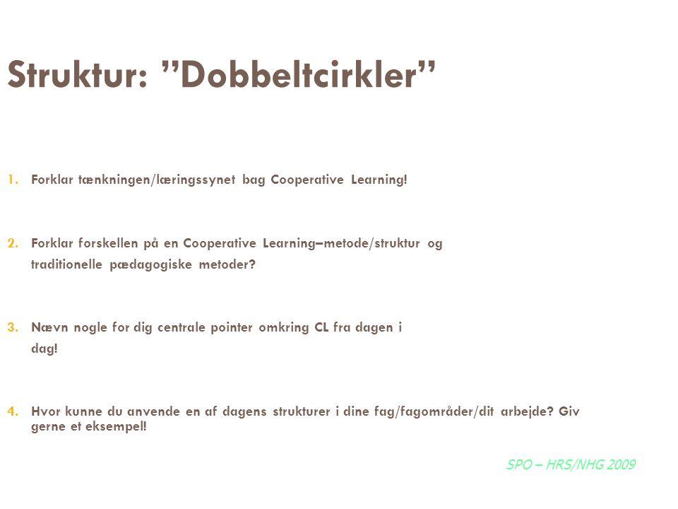 """Struktur: """"Dobbeltcirkler"""" 1. Forklar tænkningen/læringssynet bag Cooperative Learning! 2. Forklar forskellen på en Cooperative Learning–metode/strukt"""