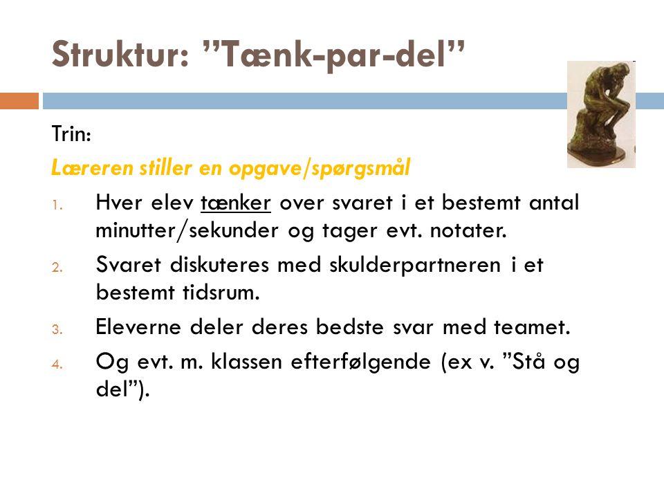 Struktur: Rollelæsning Trin: Tekst udleveres.