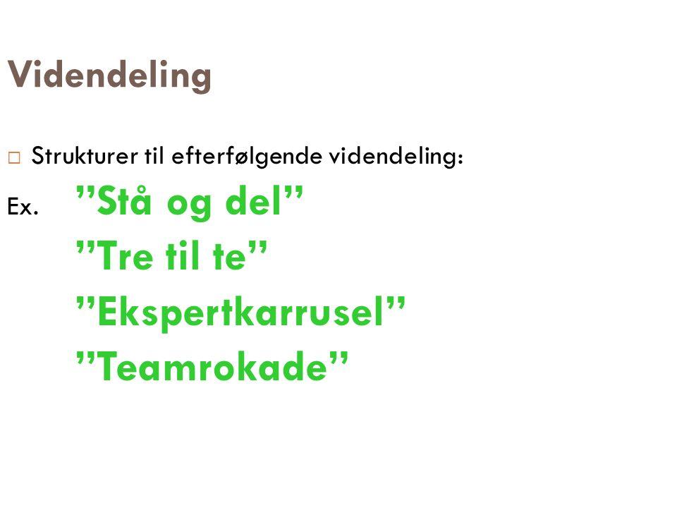 """Videndeling  Strukturer til efterfølgende videndeling: Ex. """"Stå og del"""" """"Tre til te"""" """"Ekspertkarrusel"""" """"Teamrokade"""""""