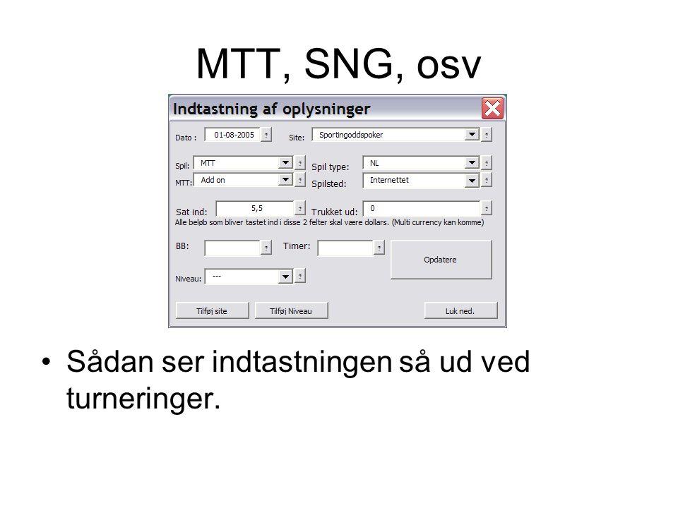 MTT, SNG, osv •Sådan ser indtastningen så ud ved turneringer.
