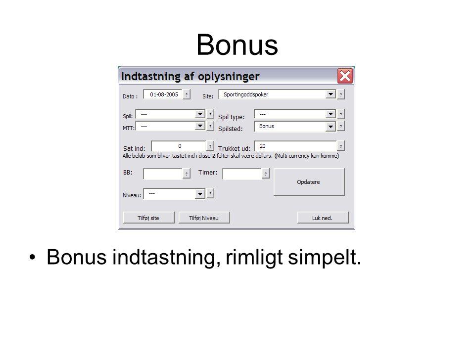 Bonus •Bonus indtastning, rimligt simpelt.