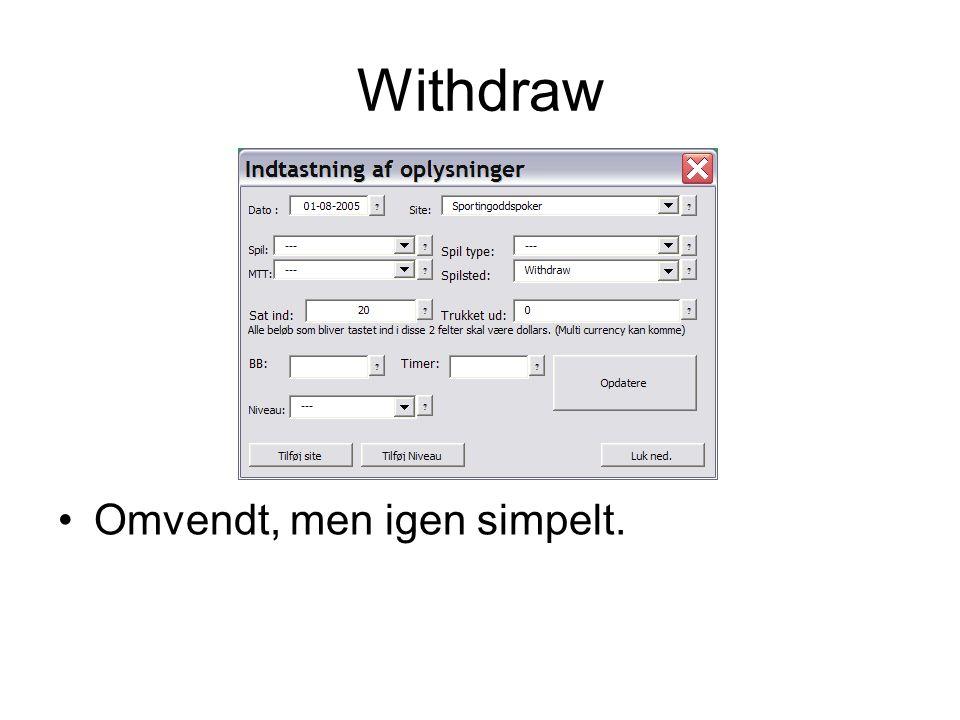 Withdraw •Omvendt, men igen simpelt.