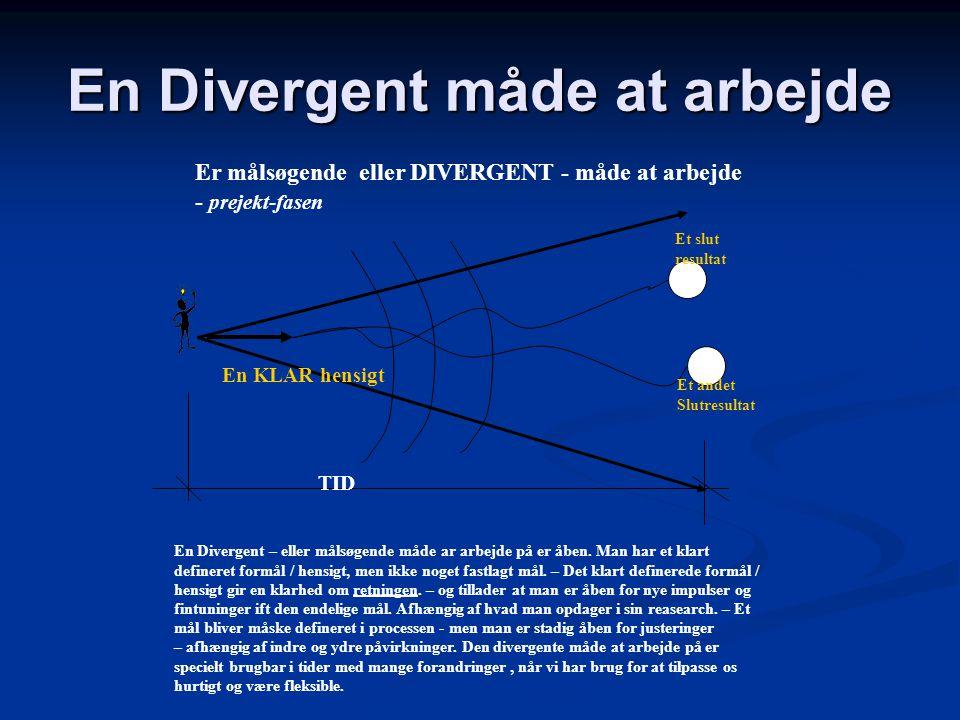 En Konvergent måde at arbejde En konvergent – eller målorienteret måde at arbejde. – Målet er defineret på forhånd – delmålene er definerede – al inds
