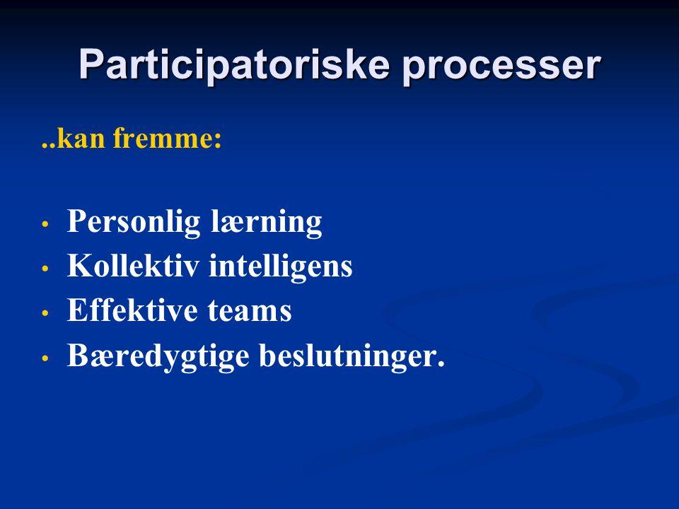 Participatoriske processer Fire værdier og fordele ved at bruge participatoriske samtaler og beslutninger.   Fuld deltagelse (alle stemmer bliver hø