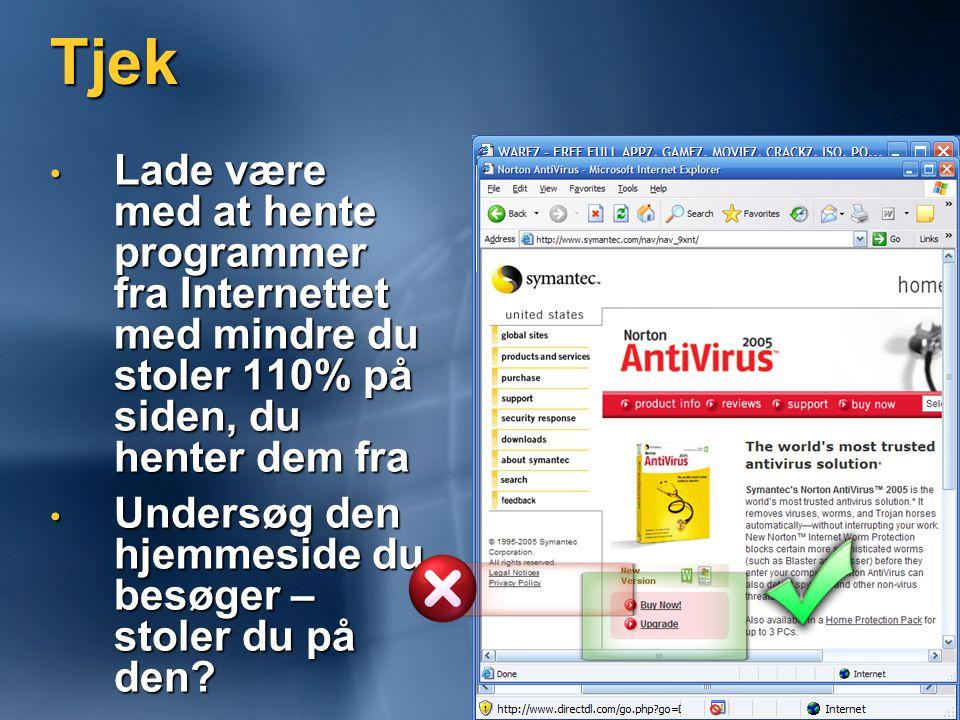 Tjek • Lade være med at hente programmer fra Internettet med mindre du stoler 110% på siden, du henter dem fra • Undersøg den hjemmeside du besøger – stoler du på den