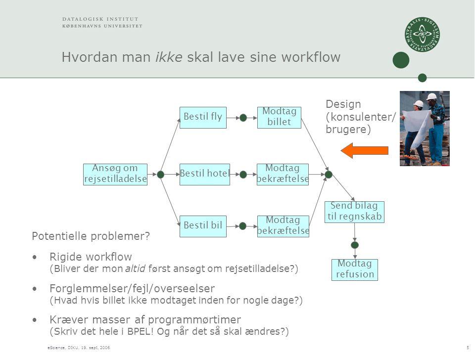 eScience, DIKU, 19. sept, 20065 Hvordan man ikke skal lave sine workflow Potentielle problemer.