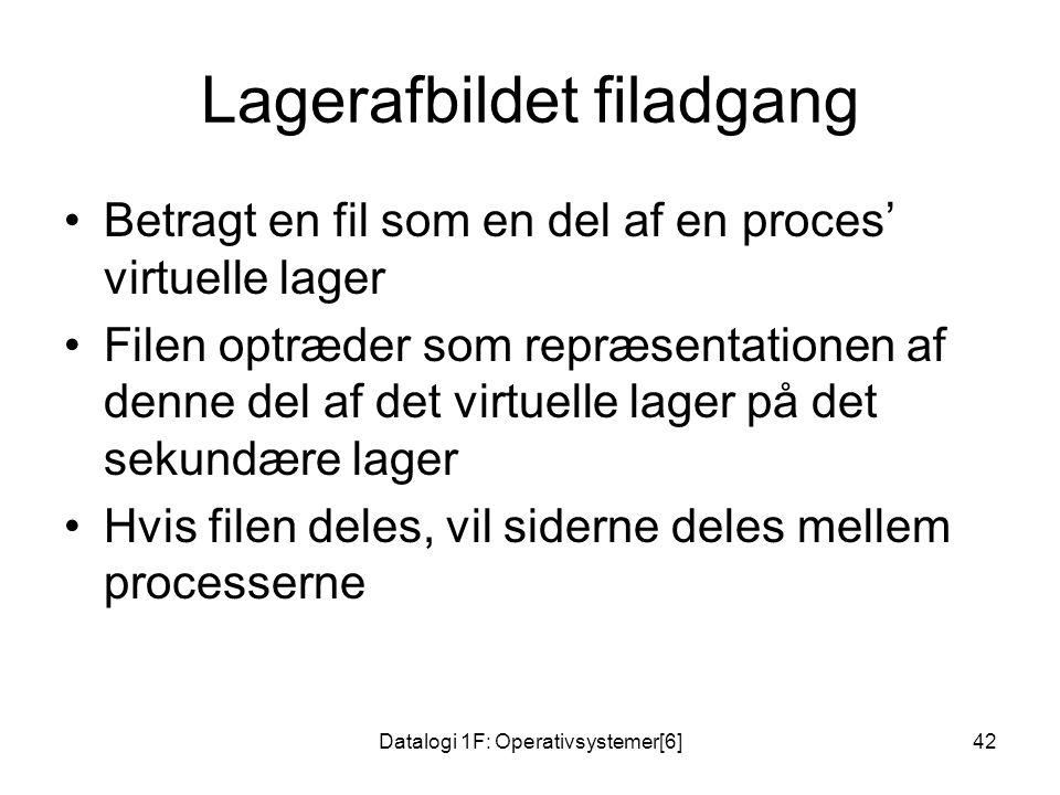 Datalogi 1F: Operativsystemer[6]42 Lagerafbildet filadgang •Betragt en fil som en del af en proces' virtuelle lager •Filen optræder som repræsentationen af denne del af det virtuelle lager på det sekundære lager •Hvis filen deles, vil siderne deles mellem processerne