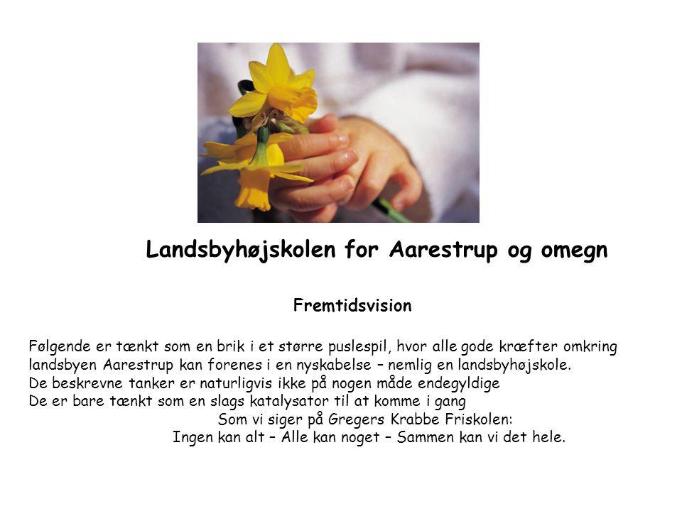 Landsbyhøjskolen for Aarestrup og omegn Fremtidsvision Følgende er tænkt som en brik i et større puslespil, hvor alle gode kræfter omkring landsbyen Aarestrup kan forenes i en nyskabelse – nemlig en landsbyhøjskole.