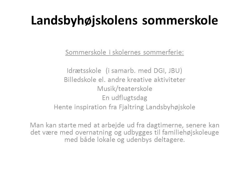 Landsbyhøjskolens sommerskole Sommerskole i skolernes sommerferie: Idrætsskole (i samarb.