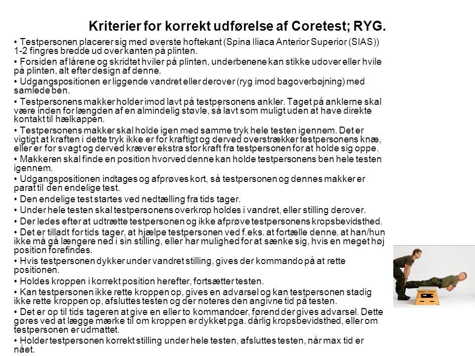 Kriterier for korrekt udførelse af Coretest; RYG.