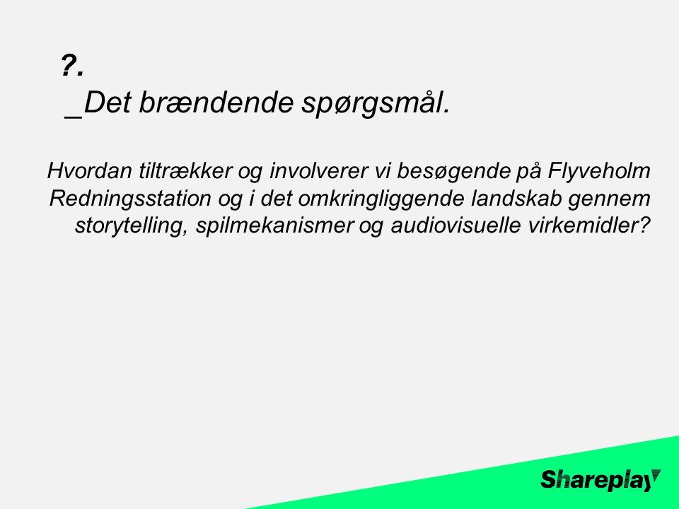 Hvordan tiltrækker og involverer vi besøgende på Flyveholm Redningsstation og i det omkringliggende landskab gennem storytelling, spilmekanismer og audiovisuelle virkemidler.