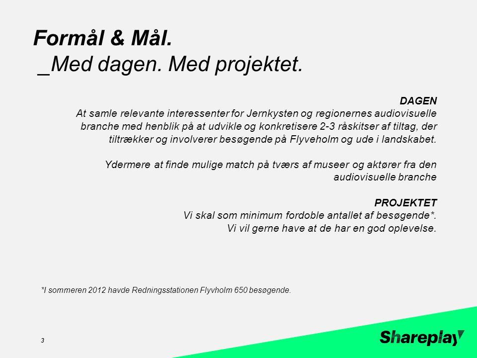 zzc DAGEN At samle relevante interessenter for Jernkysten og regionernes audiovisuelle branche med henblik på at udvikle og konkretisere 2-3 råskitser af tiltag, der tiltrækker og involverer besøgende på Flyveholm og ude i landskabet.