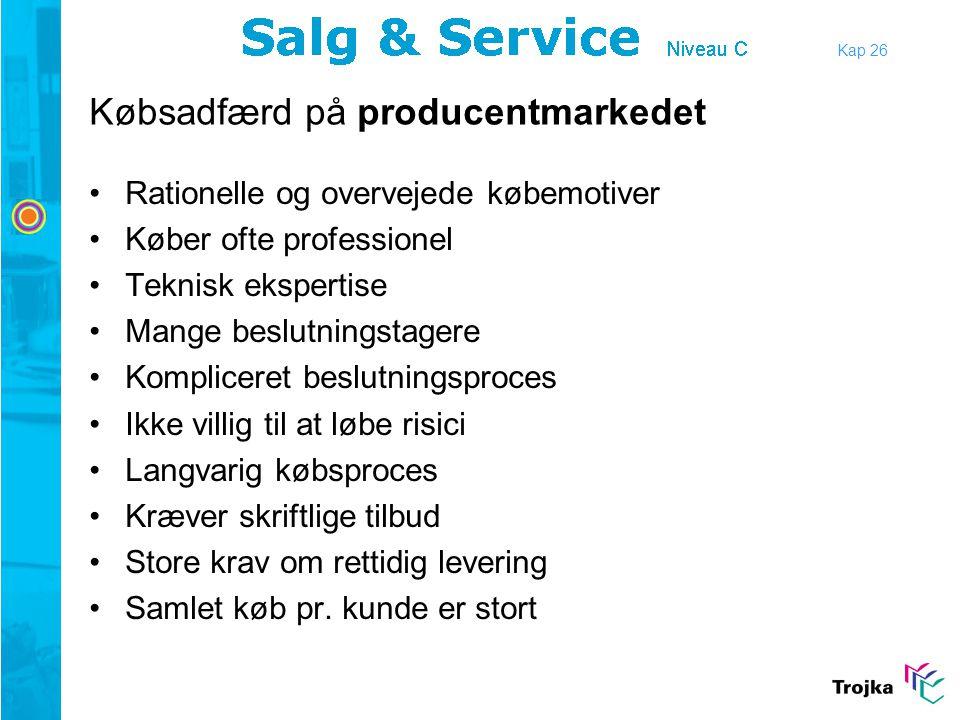 Købsadfærd på producentmarkedet •Rationelle og overvejede købemotiver •Køber ofte professionel •Teknisk ekspertise •Mange beslutningstagere •Komplicer