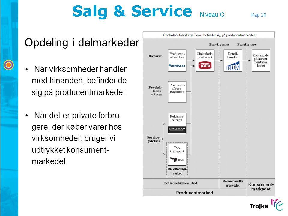 Kap 26 Relationsmarkedsføring •Produktudvikling i fællesskab •Sammenkobling af salgs-, indkøbs og produktionsplaner •Rammeaftaler om levering •Informationsindsamling for hinanden