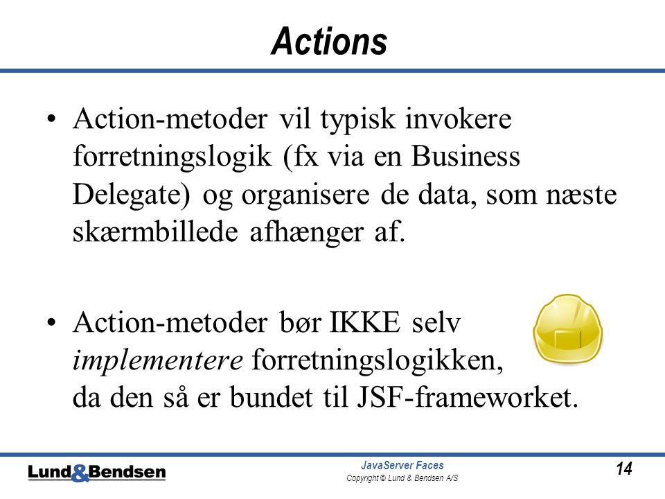 14 JavaServer Faces Copyright © Lund & Bendsen A/S Actions •Action-metoder vil typisk invokere forretningslogik (fx via en Business Delegate) og organisere de data, som næste skærmbillede afhænger af.