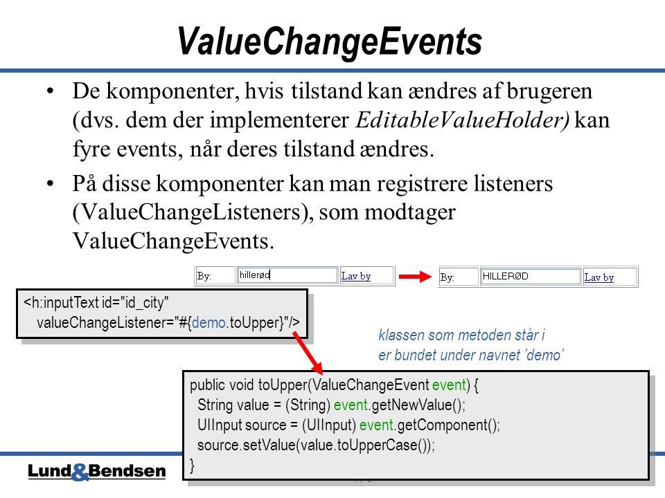 20 JavaServer Faces Copyright © Lund & Bendsen A/S ValueChangeEvents •De komponenter, hvis tilstand kan ændres af brugeren (dvs.